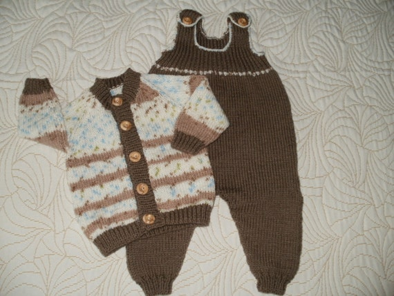 PRICE REDUCED A lovely hand knitted baby boys dungarees and jacket set in soft autumn colours 0 - 3 months approx.