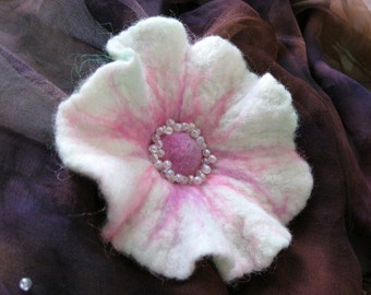 Felt Flower Brooch, eco friendly