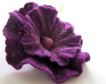 Felt Purple Flower Brooch