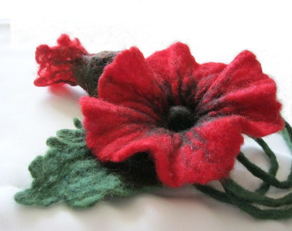 Red Flower    Hand Felt Necklace with a Flower brooch, eco friendly