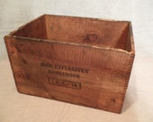 Vintage Wooden Explosives Crate/Box with Dovetailed Corners