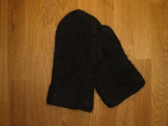 Icelandic felted mittens in black,unisex, Icelandic wool, felted, size S-M-L-XL, made to order