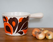 RESERVED vintage Le Creuset stock pot from the 1970's in orange and brown