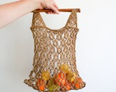 vintage macrame shopping bag or project bag from the 70's