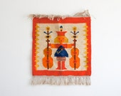 Vintage polish Kilim folk tapestry in bright orange and blues,  handmade and designed by M.Domanska