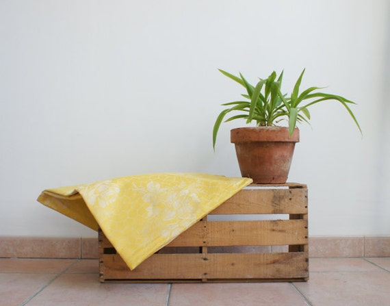 RESERVED  french mattress ticking // spring sunny yellow // damask rose pattern //  vintage fabric // french country // garden