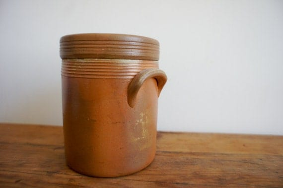 french vintage crock with lid, wheel thrown pottery with tan glaze, made in France