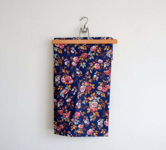 vintage french fabric from the 70's with bright rose design in pink, navy, aqua, yellow and brown