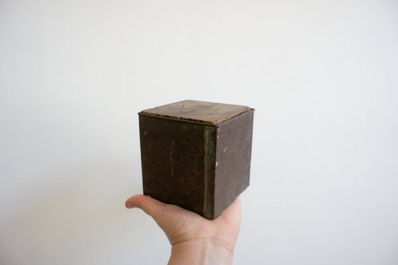 vintage wood cube, a teacher's aid to teach french school children volumes.
