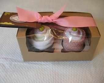 Cupcake Baby Girl Gift Set - 2 Pack Onesie/Burpcloth cupcakes - Color Strawberry Rhubarb Pie