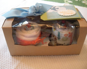 Baby Boy Cupcake Gift Set - 2 Pack Onesie/Burp Cloth - Color Blueberry Crumble by Baby Sweets