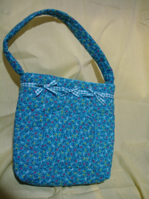 GIRLs PURSE QUILTED TURQUOISE with Bows
