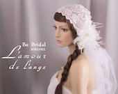 Bridal headband with lace and , tulle and silk flower