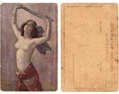 "Sword Woman -postcard. 4x6"" Original print from Russia. Unframed."
