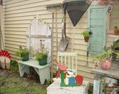 Cottage Garden Painted Picket Fence Bench Pastel Pink Green OOAK  Recycle Chic