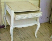 SALE Antique French Table Old Chippy Paint Cabriole Legs Shabby Cottage Chic Furniture Romantic Home
