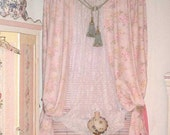 Reserved Vintage Roses Pink Linen Drape Panel Fabric Barkcloth Era 1930s Romantic Cottage Window Dressing 2 of 4