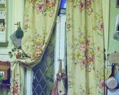 Antique Vintage English Cottage Linen Drapes panels Draw String Top 1920s Chic Not Shabby