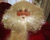 SALE Vintage Twinkle Santa Decoration Full Figure Red Velvet Multi Colors Lights Christmas Home Chic Decor