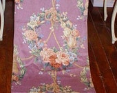 Vintage Barkcloth Roses Fabric Curtain Panel Lavender Pink Rose Wreaths and Tassels 90 x 21 Shabby Chic Cottage
