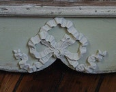 Architectural Salvage Wood Shelf with Bow Applique Chic Farmhouse Decor Recycle Jadeite 34 Long