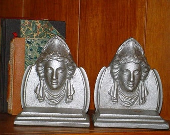 Art Deco Ladies Heads Bookends Frankart Era Cast Iron Silver Goddess Queen