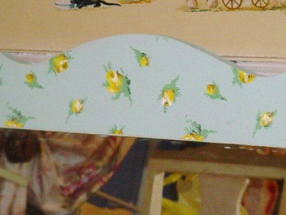 Sale Cottage Chic Mirror Vintage Wallpaper Jadeite Yellow Roses OOAK Shabby Chic
