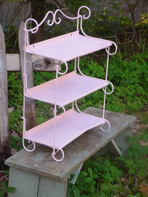 Vintage Painted Metal 3 Tier Scrolly Shelf Pink Shabby Cottage Chic Bathroom