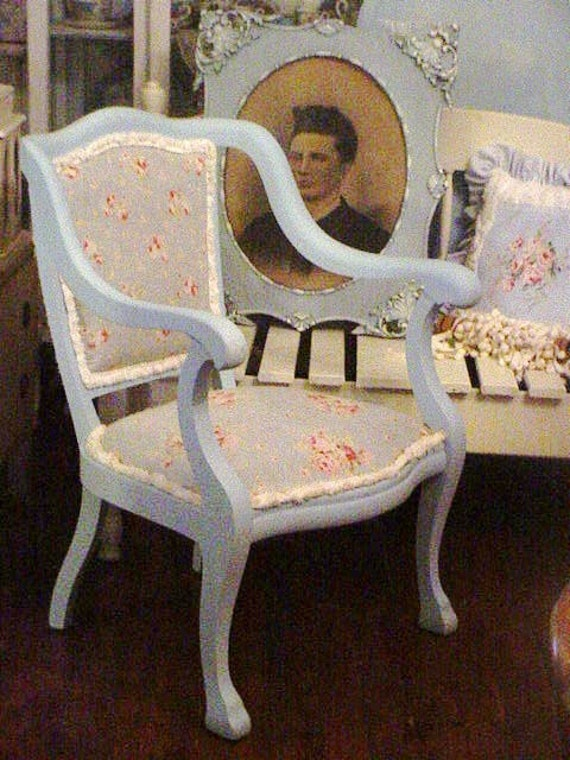 Reserved Victorian Arm Chair Painted Reupholstered Renewed Beach Chic Cottage Blue With Roses