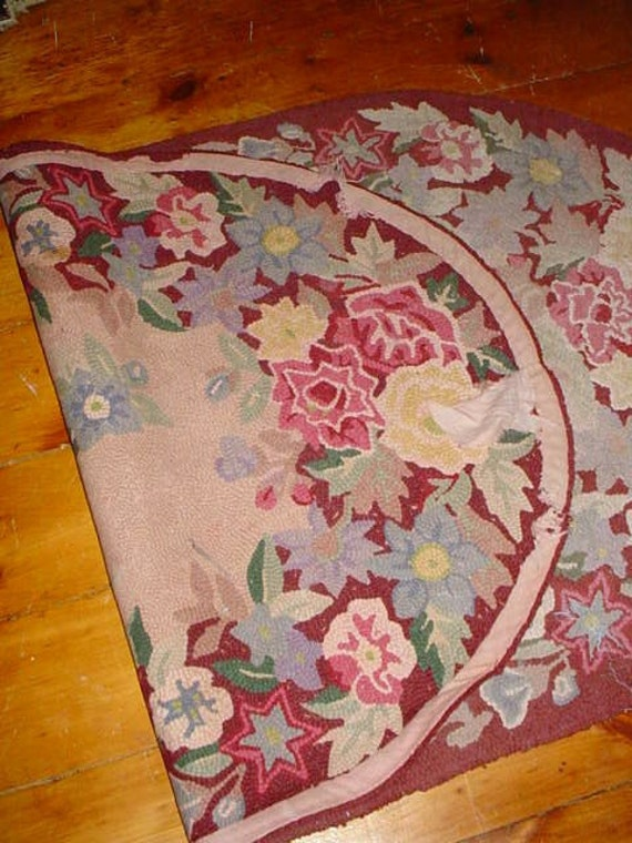 Vintage Oval Hooked Rug Roses Cottage Chic Home Decor Pinks 60