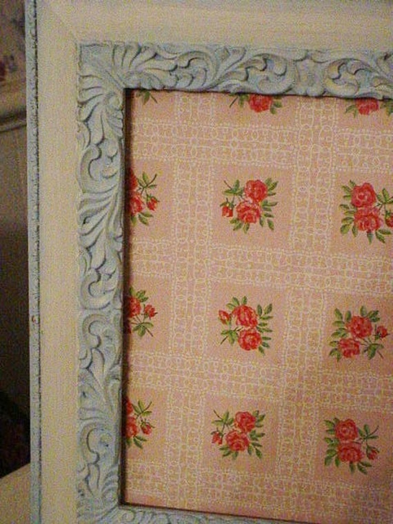 Shabby Chic Vintage Painted Frame with Pink Roses Wallpaper Cottage Chic Decor