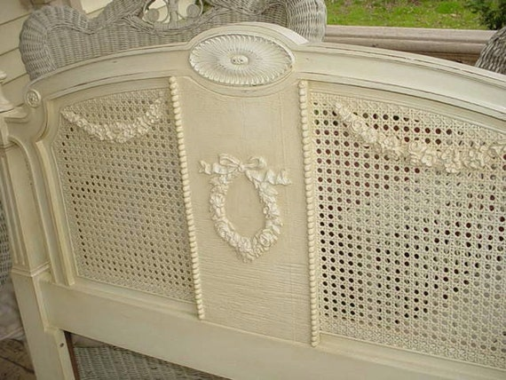 Pair of Vintage Twin Cane Beds Roses Appliques French Chic Painted Furniture