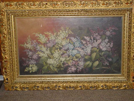 Huge Victorian Lilacs Oil Painting Gilt Ornate Frame Shabby Chic Antique 1800s Sale Take 20% Off
