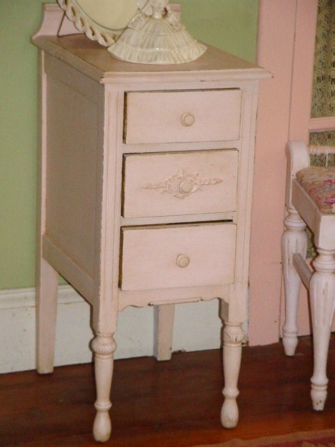 Sale Vintage Night Stand Shabby Chic Furniture Palest Pink