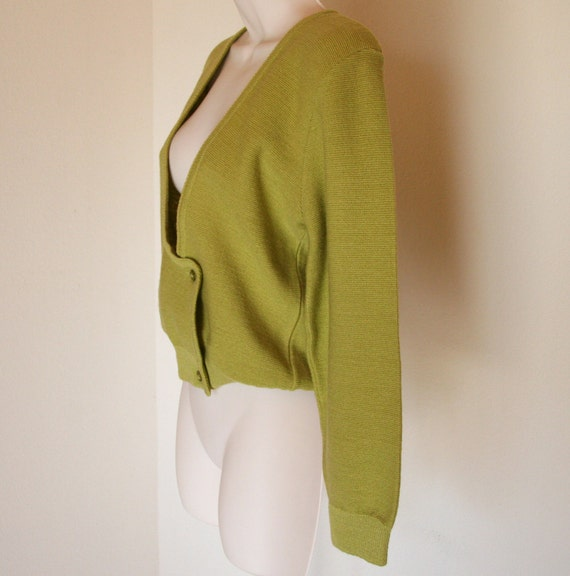 Vintage Chartreuse Knit Cardigan -:- Scoop Neck Sweater