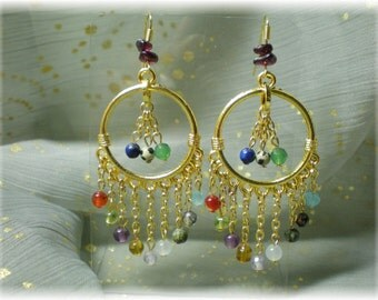 Signature Gemstones of Jerusalem Chandelier Earrings