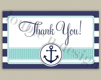 Nautical Stripes Printable Thank You Note with Color Options