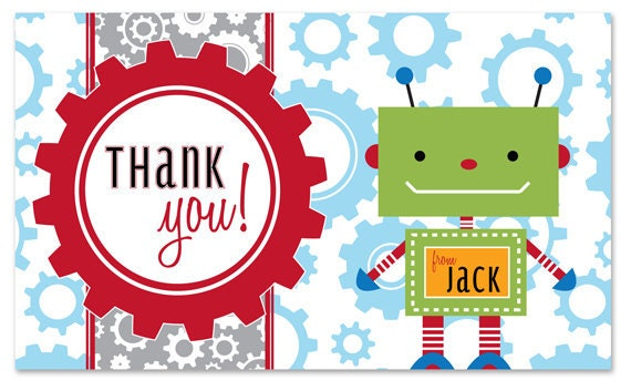 Robot and Gears Printable Thank You Note