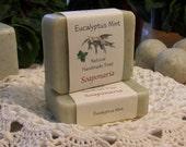 Eucalyptus-Mint Handmade Cold Process Soap, Big Eucalyptus with a hint of mint.