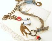Bird Necklace, Sari Silk Necklace, Bead and Chain Necklace, Vintage Bead Necklace