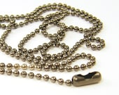 24 Inch Ball Chain Necklace, Gunmetal Chain, 24 Inch Small Link Dark Gray Silver Necklace