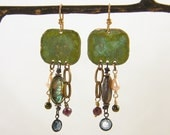 Beachy Earrings OOAK Verdigris Green Seashell Copper Garnet Beads Bohemian Boho Dangling Jewelry