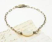 Sterling Silver Bracelet - White Mother of Pearl Cream Ivory Gemstone Simple Oxidized Chain Minimalist Jewelry