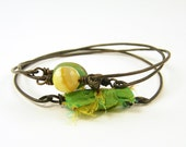 Layering Bracelets - Lime Green Yellow Brass Stacked Wire Bangles