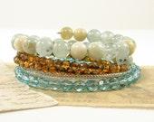 Aqua Bracelet - Stackable Seafoam Gemstone Brown Glass Bead Stacking Bangle Jewelry