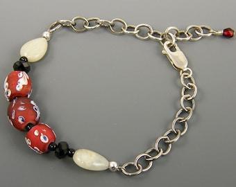 African Trade Bead Bracelet, Sterling Silver Chain Bracelet, Aquamarine Gemstone Bracelet, Aqua Red Bracelet