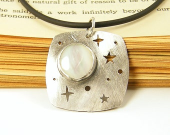 Star Moon Necklace - Sterling Silver White Celestial Mother of Pearl Starry Night Metal Jewelry