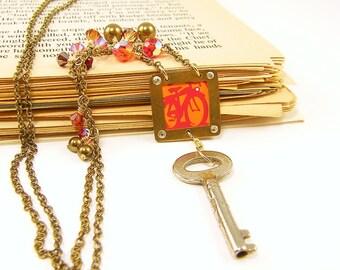 Bicycle Necklace - Orange Red Key Pendant Upcycled Jewelry Fashion Under 50
