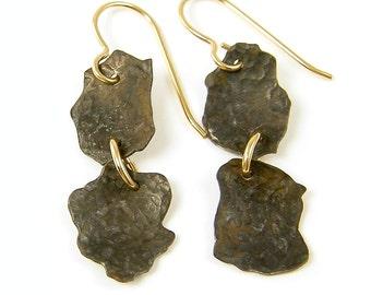Rustic Metal Earrings - Brown Gold Torn Edges Freeform Hammered Dark Brass Simple Jewelry