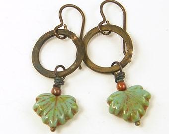 Green Leaf Earrings - Brown Brass Circle Rustic Earrings